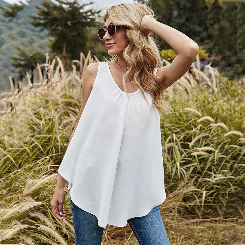 2021 Spring Summer New White Tank Tops Women Sexy Irregular Loose For Oversize Top