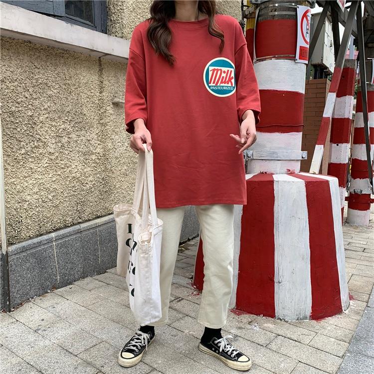 Женские футболки Harajuku с принтом молока Kawaii BF пара одежды унисекс свободная Длинная летняя футболка женская футболка корейский стиль тренд