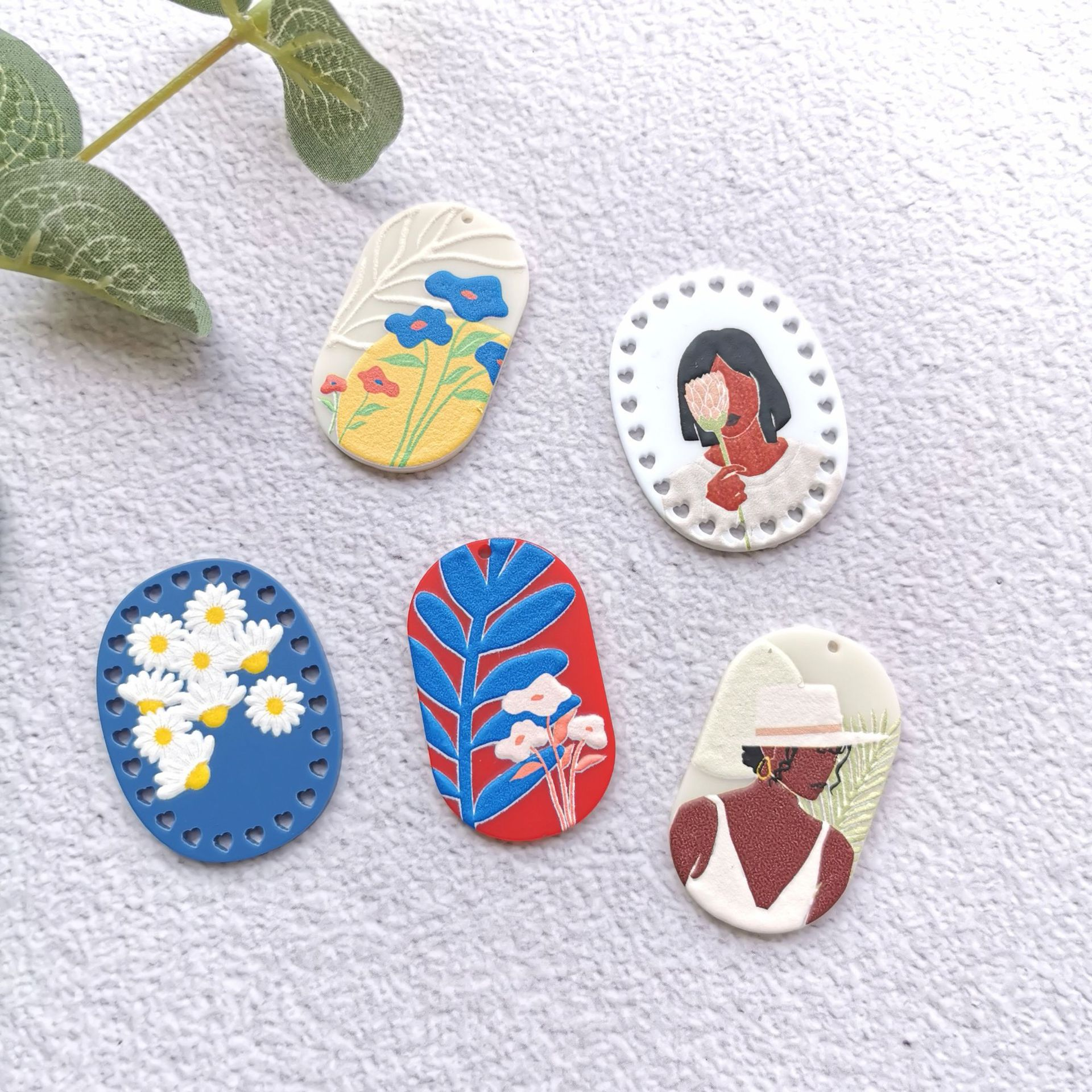 50PCS Flower Retro Beauty Avatar Painting Jewelry Accessories Earrings Connectors DIY Pendant Jewelry Findings Components Charms