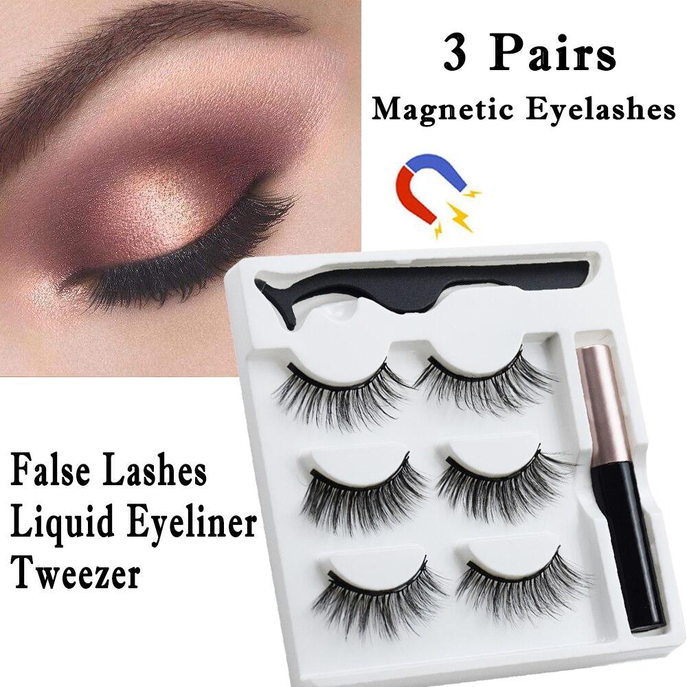Hot Sale Magnetic False Eyelashes Waterproof Liquid Eyeliner Tweezers Set 3D Mink Lashes Natural Ext