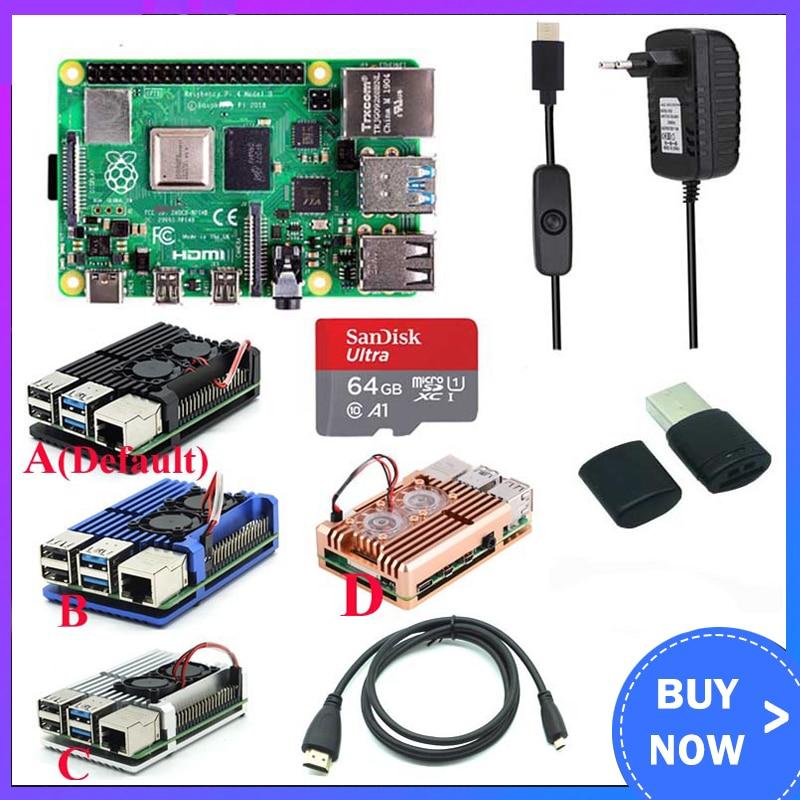 Original Raspberry Pi 4 Model B Kit + Aluminum Case + Heat Sink + 3A Switch Power + Micro HDMI Option 64 32GB SD Card  Reader