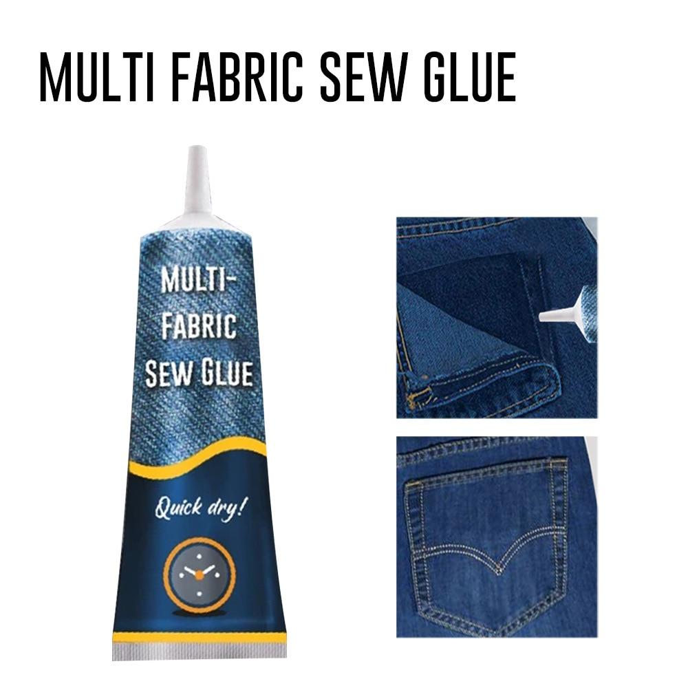 50ml Multifunctional Sew Glue Liquid Sewing Solution Kit Needle Thread Repair Glue Fast Tack Dry Universal Fabric Sewing Glue