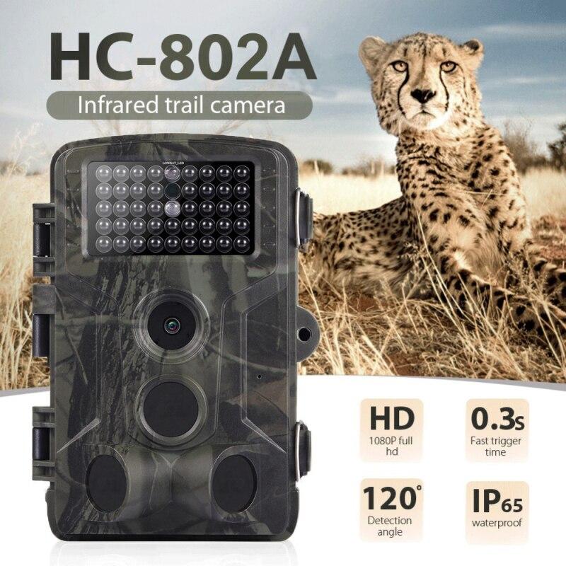 Cámara de rastreo Wildlife de 16MP, 1080P, trampa de fotos, infrarroja, cámaras de caza HC802A, cámara inalámbrica de seguimiento de vigilancia
