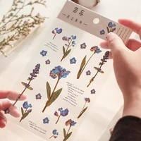 small fresh plant flowers series stickers for diary handbook diy decoration material stickers girl stationery 15x10 5cm1pc