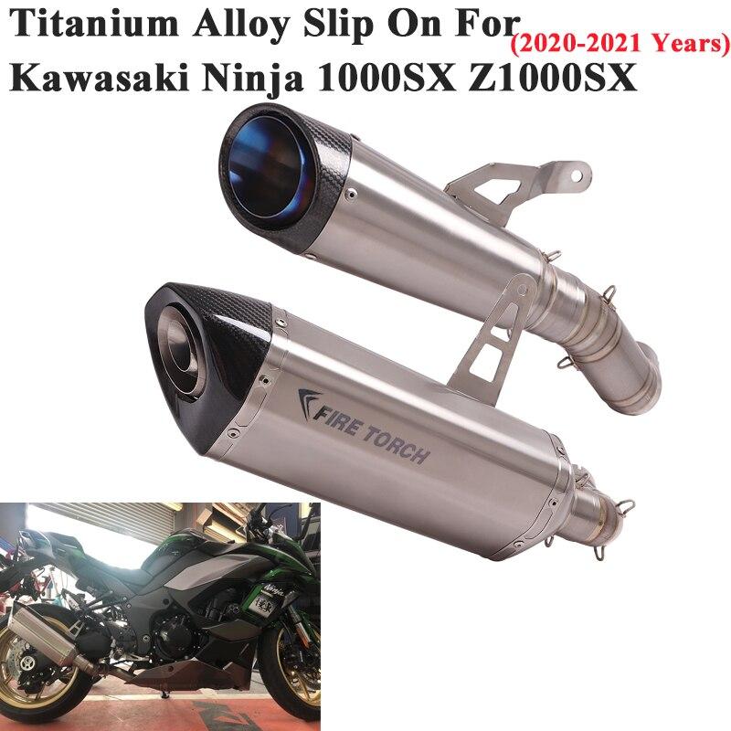 سبائك التيتانيوم الانزلاق على لكاواساكي النينجا 1000SX Z1000SX 2020 2021 دراجة نارية GP العادم الهروب وصلة الأنابيب الخمار DB القاتل