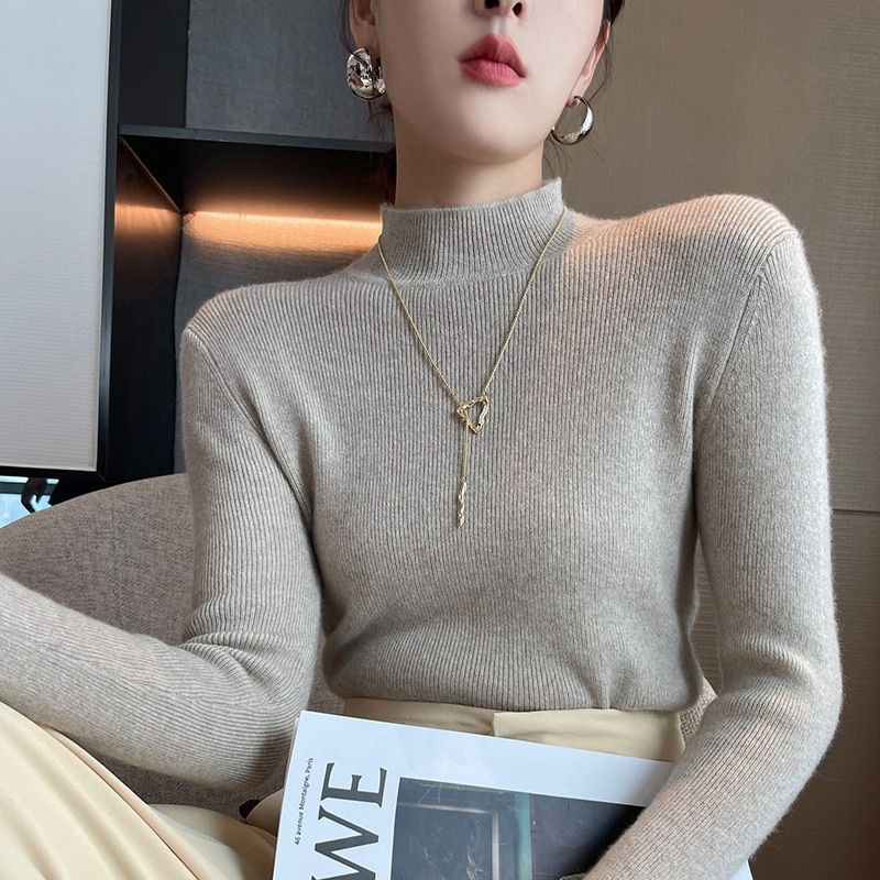 2021 woman winter 100% Cashmere sweaters knitted Pullovers jumper Warm Female Mock Neck blouse blue long sleeve clothing enlarge