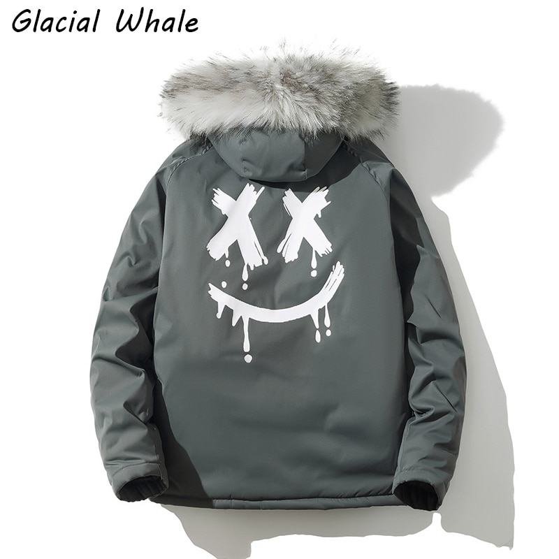 GlacialWhale Winter Jacket Men Black Hiphop Down Parkas Windproof Fur Hooded Collar Thicken Coat Thick Warm Down Jacket Male girls winter fur collar down parkas children thicken windproof long down jacket teenagers hooded warm outerwear aa51904