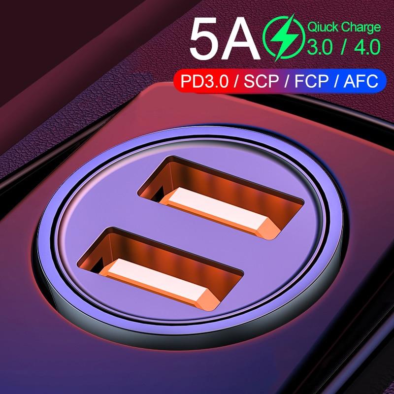 32W sobrecargar de USB de cargador de coche Dual USB carga rápida 4,0 de 3,0 para Samsung Huawei AFC SCP adaptador de Metal rápido cargador de coche