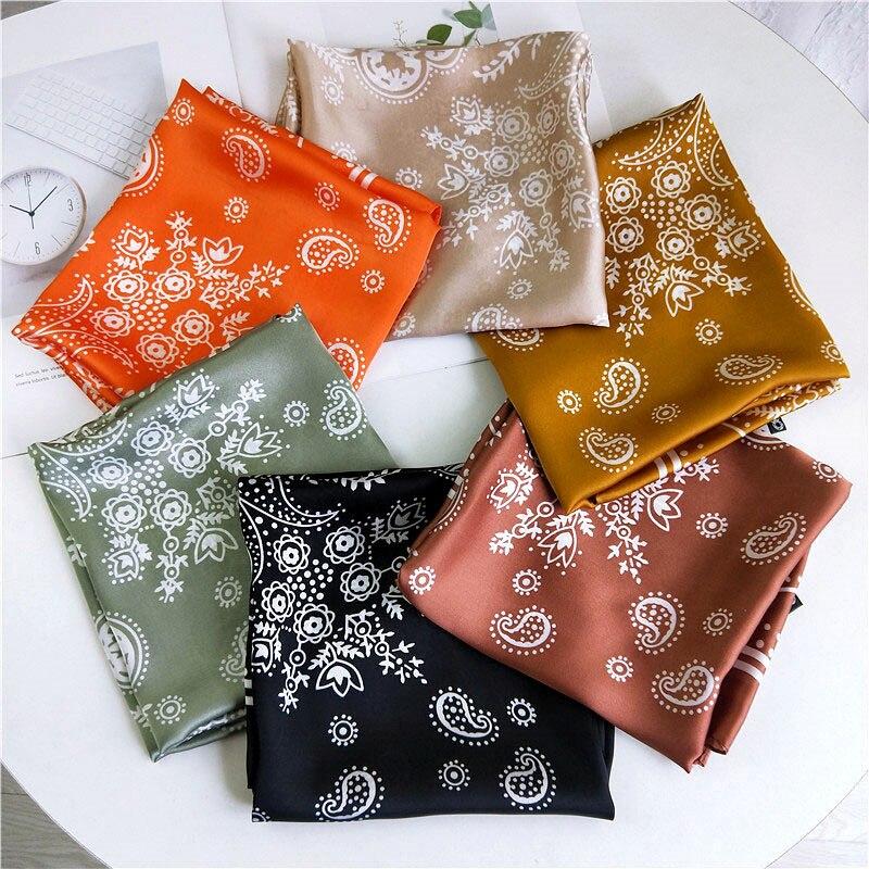 Women Girls Flower Geometric Soft Silk Satin Headband Small Scarf Hair Accessories