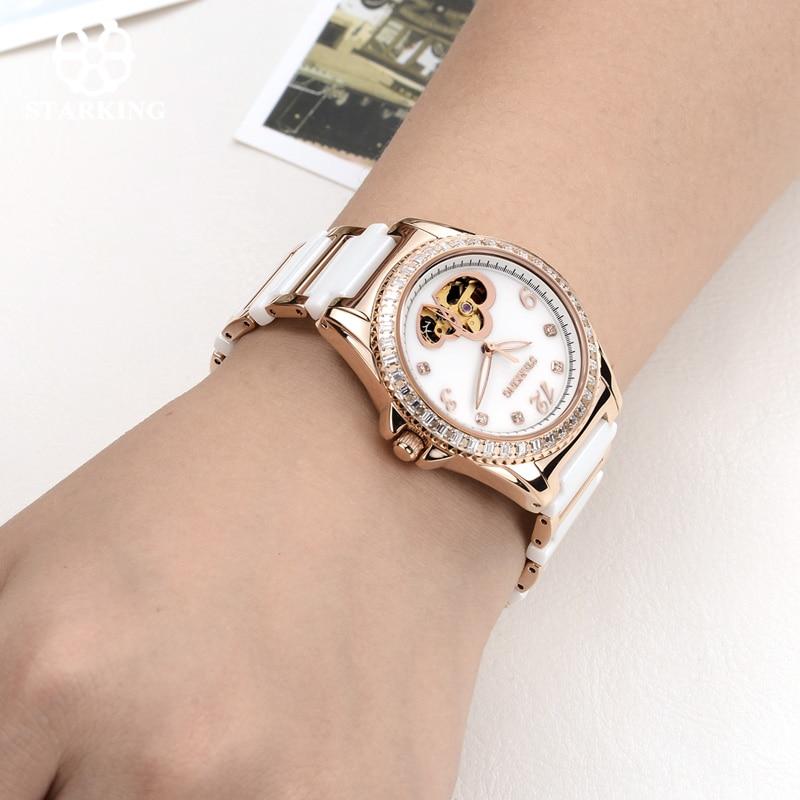 STARKING Women Watch heart-shaped fashion casual diamond automatic mechanical female watch charm gold red belt relogio feminino enlarge