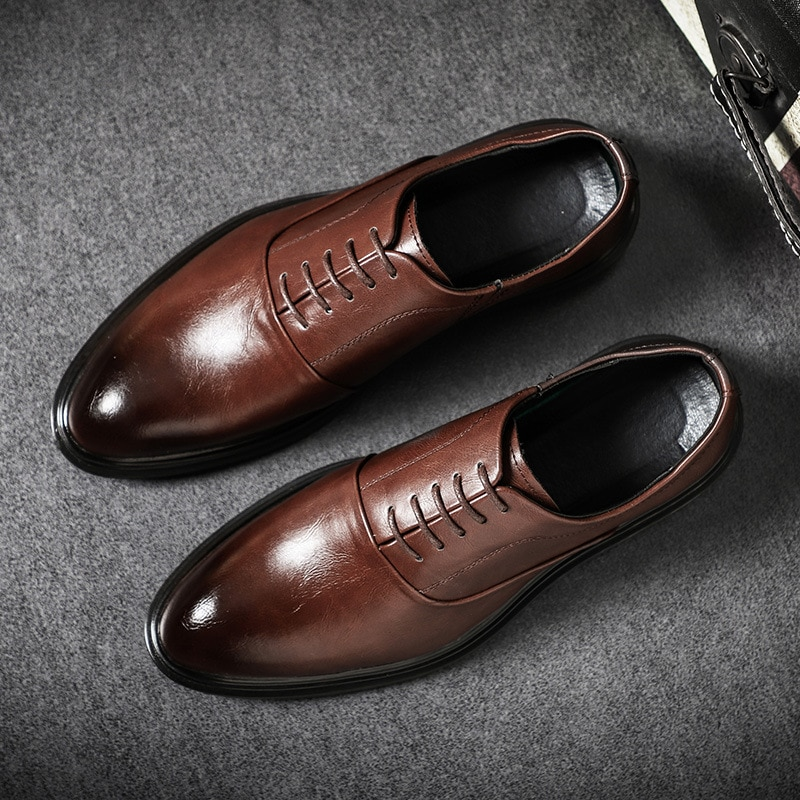 Fashion Mens Formal Shoes Genuine Leather Oxford Shoes for Men Italian 2020 Dress Shoes Wedding Shoes Laces Leather Brogues shoes mens dress shoes genuine leather blue purple oxfords men wedding shoes party whole cut formal shoes for men