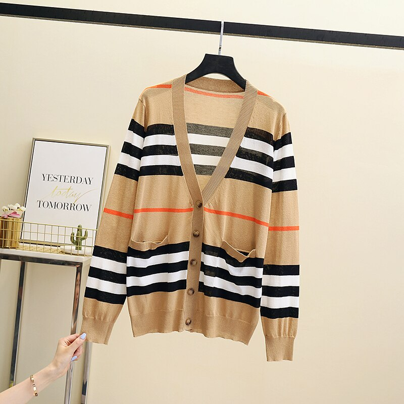 2021 autumn spring Women Knitted Cropped Cardigan Sweater Female plus size Coat V Neck Single Korean loose outwear striped enlarge
