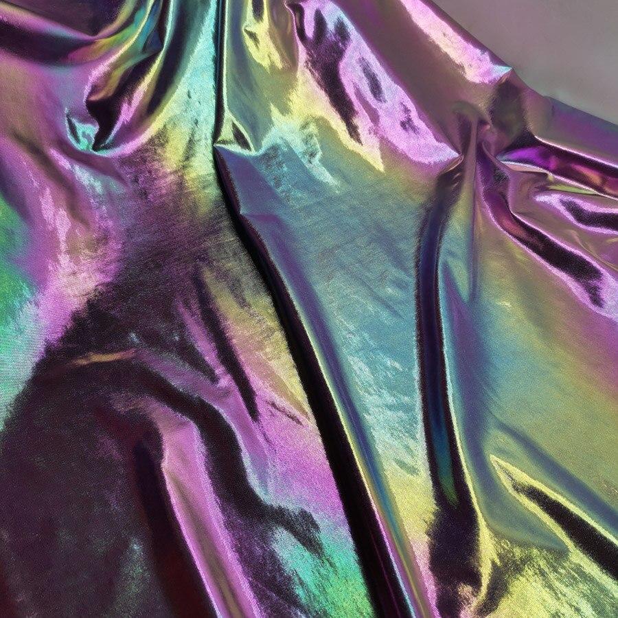 Ombré bronce Lycra tela Lasering Cosplay etapa decoración tela Magic Shiny Color doll dance Dress