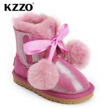 KZZO Real Sheepskin Suede Leather Natural Wool Fur Lined Big Kids Winter Snow Boots For Girls Studen