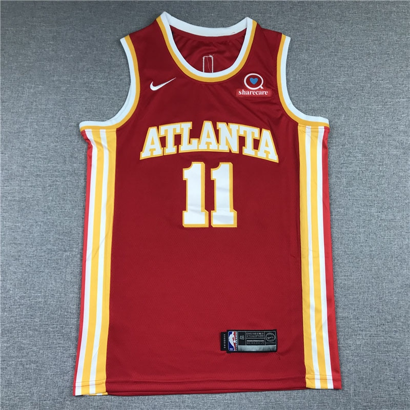 NBA Atlanta Hawks Basketball Jersey 11 young Red Breathable Jerseys 2021 City Hot Sale With Sponsor Patch