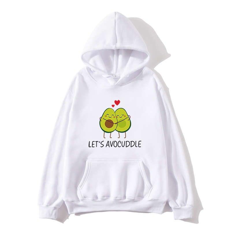 2020 Winter Women Hoodies Kawaii Cartoon Avocado Print Sweatshirts Harajuku Korean Fashion Tops Pullovers Streetwear hoodie Coat