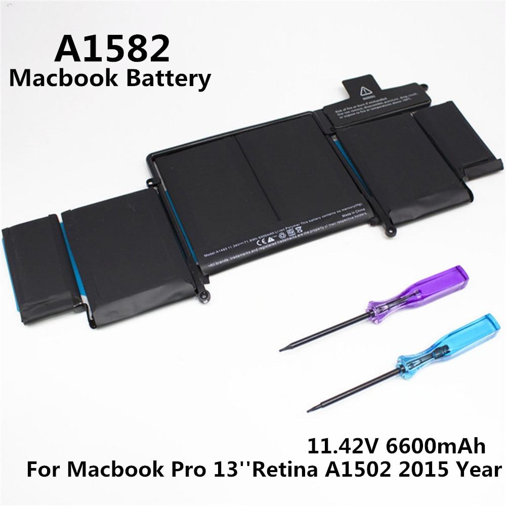 100% Original 11.42V 6600mAh Notebook Laptop A1582 Battery FOR Apple MacBook Pro 13