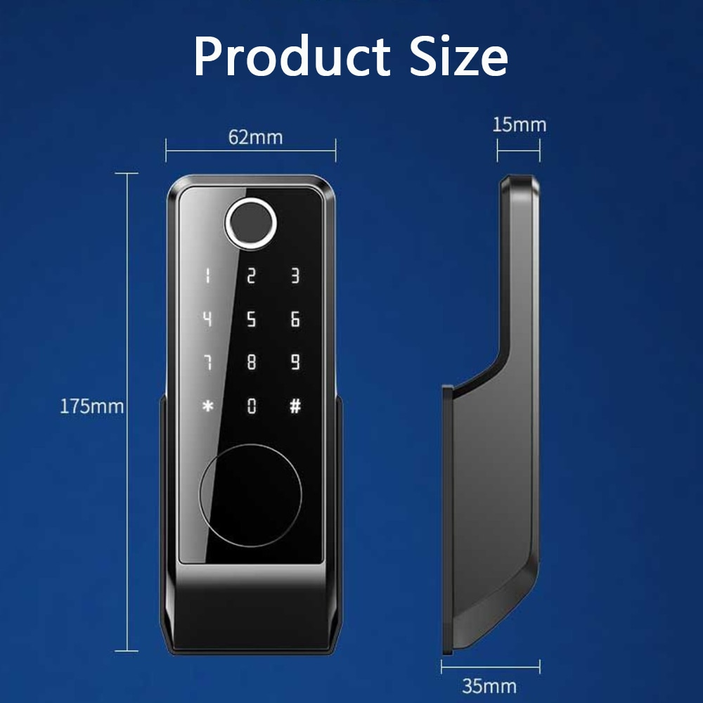 Tuya Smart Electric Lock for Gate 5-in-1 Keyless Entry Hidden Biometric Bluetooth Fingerprint Digital Keypad