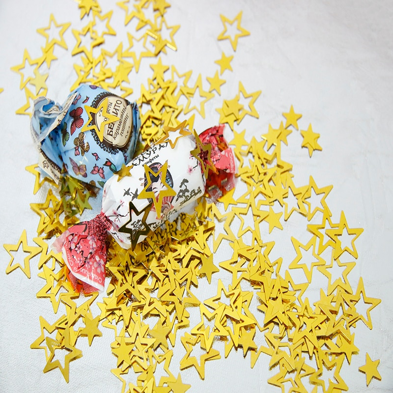 1000pcs/bag Gold Metallic Hollow Stars Confettis For Wedding Party Decoration DIY Birthday Accessori