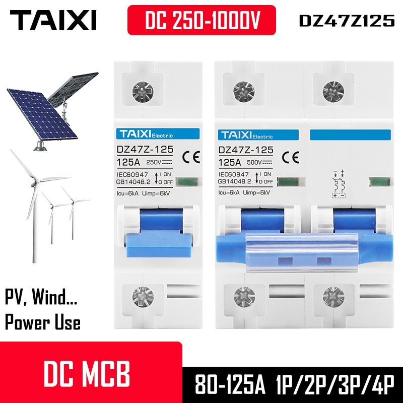 AliExpress - DC 1000V/500V 125A MCB Solar Energy PV Circuit Breaker 1P 2P 4 Poles 80 Amp 100A Current Main Witch Battery Protector DZ47Z-125