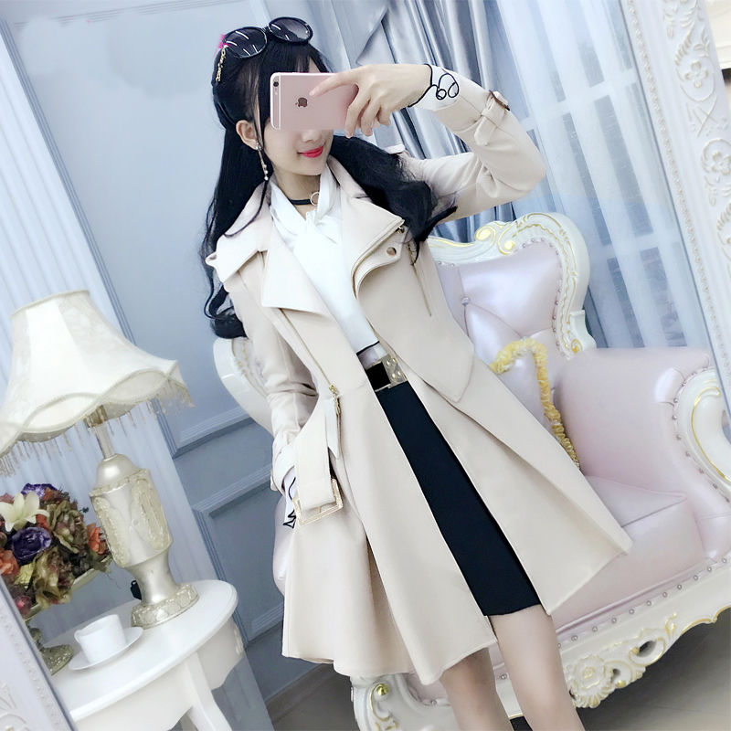2021 Spring And Autumn Woman Windbreaker Beige British Long-Sleeved Trench Slim Female Solid Color C