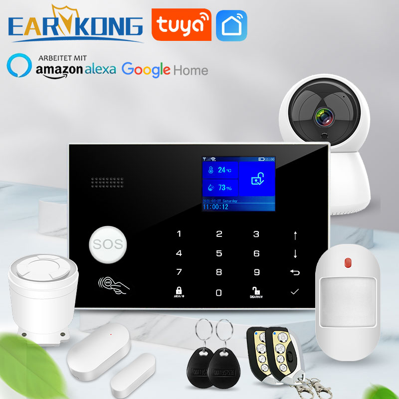 Wifi GSM Alarm System 433MHz Home Burglar Security Alarm Wireless Wired Detector RFID Touch Keyboard Temperature Humidity Alexa