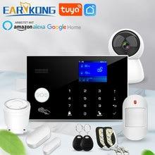 와이파이 GSM 경보 시스템 433MHz 홈 도난 경보기 무선 유선 탐지기 RFID 터치 키보드 온도 습도 알렉사