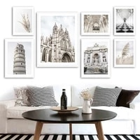 trevi fountain leaning tower pisa corridor reed wall art canvas painting posters and prints wall pictures for living room decor