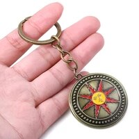 dark souls sun knight shield round shape keychain high quality vintage metal keyring torque men car accessories jewelry
