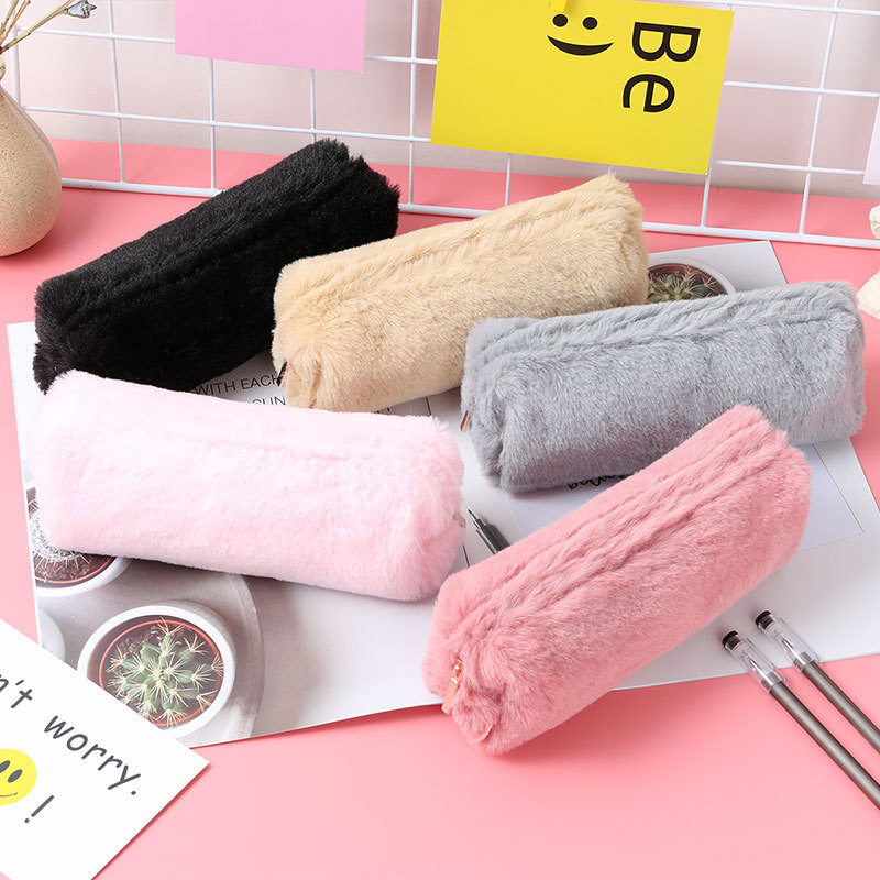 Colorful Plush cute Pencil Case School Bag Stationery Pencilcase Kawaii Girls School Supplies Tools