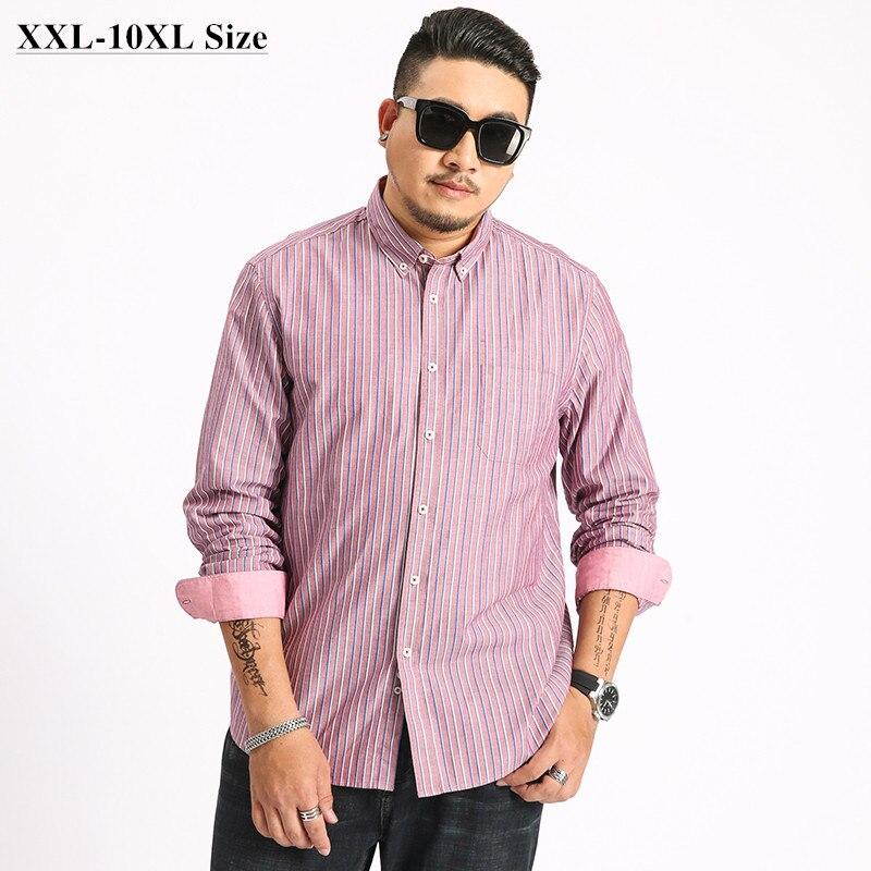 Camisa de algodón a rayas para hombre de talla grande 5XL 6XL 7XL 8XL 9XL 10XL 100%, ropa de marca, camisa Social de manga larga holgada informal de negocios
