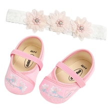 Newborn Infant Baby Girls Summer Princess Shoes Headband Set Casual Prewalker with Flower Headwear B
