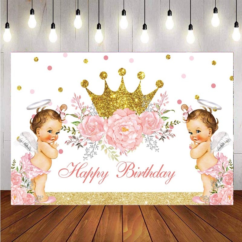 Angel Crown Photography Backdrop Princess Kids Birthday Party Flower Baby Shower Photo Studio Background Decor Banner Prop mehofoto baby shower photo backdrop for photography little princess newborn flower background gold crown birthday party booth