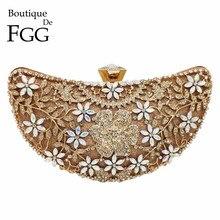 Boutique De FGG évider Appliques florales sacs à main De luxe femmes cristal soirée pochettes mariée fleur sac à main sac De mariage