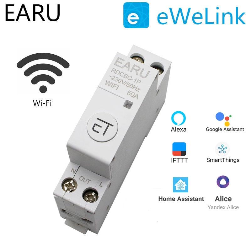 1P Din السكك الحديدية WIFI قاطع الدائرة الذكية الموقت التبديل التتابع التحكم عن بعد بواسطة EWeLink APP المنزل الذكي متوافق مع أليكسا جوجل