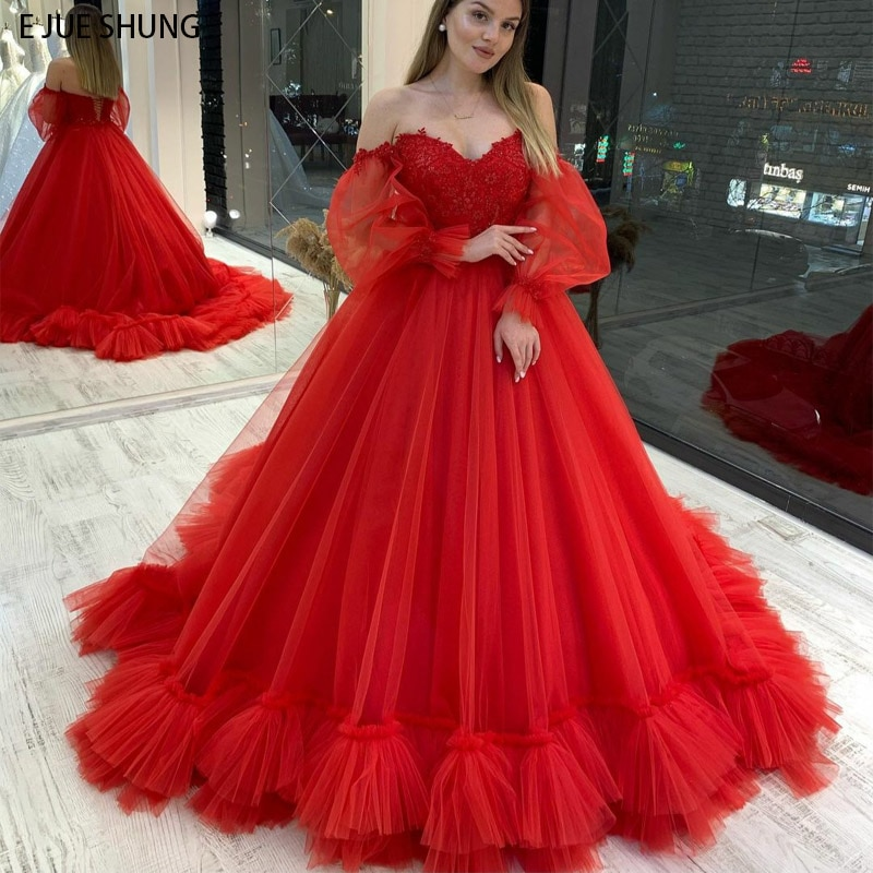 Promo E JUE SHUNG Red Lace Ball Gown Wedding Dresses Sweetheart Off the Shoulder Lace up Back wedding gowns