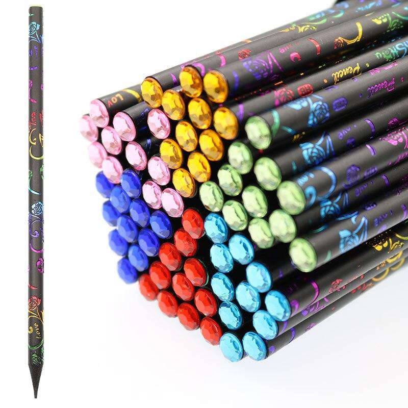 Lápiz HB de madera de imitación negro con función de diamante, lápiz de oficina escolar, lápiz de pintura para niños, papelería de escritura, 6 unidades