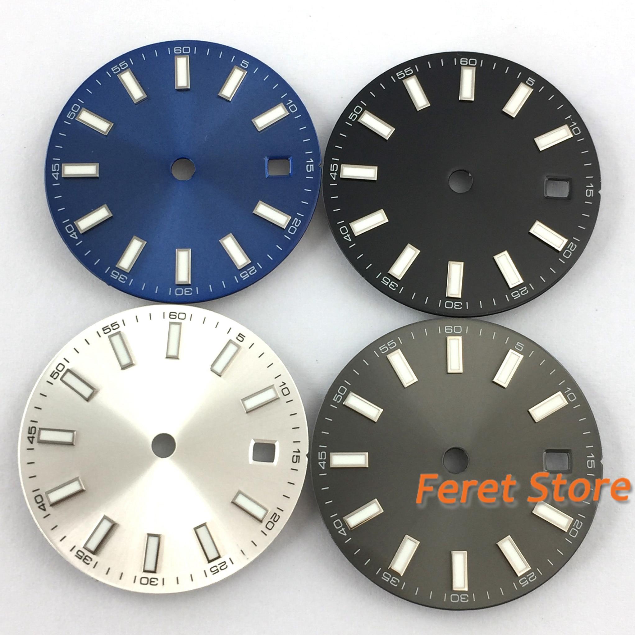 29,2mm sin logo reloj oscuro dial marcas luminosas ajuste MIYOTA 8215 821A Mingzhu 2813 Eat 2836 automático p205