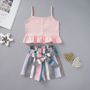 2Pcs Clothes Set  Kids Baby Girls Outfits Summer Sleeveless Crop Tops+Shorts Clothes Set Support wholesale