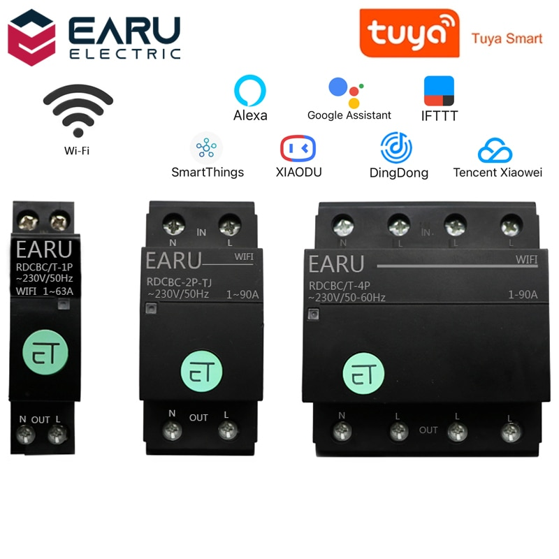 1P 2P 4P WiFi Circuit Breaker Time Timer Relay Switch Smart House Voice Remote Control by TUYA APP for Amazon Alexa Google Home