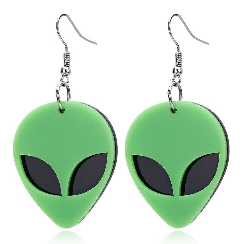 Nueva llegada moda divertido UFO Alien verde pendientes colgantes de acrílico para mujer moda pendientes únicos Cool Punk Brincos 2019