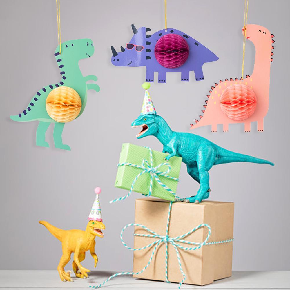 Cartoon Dinosaurier Kinder Geburtstag Party Waben Hängen Dekorationen Baby Junge Dusche Schlafzimmer Decor Partei Liefert