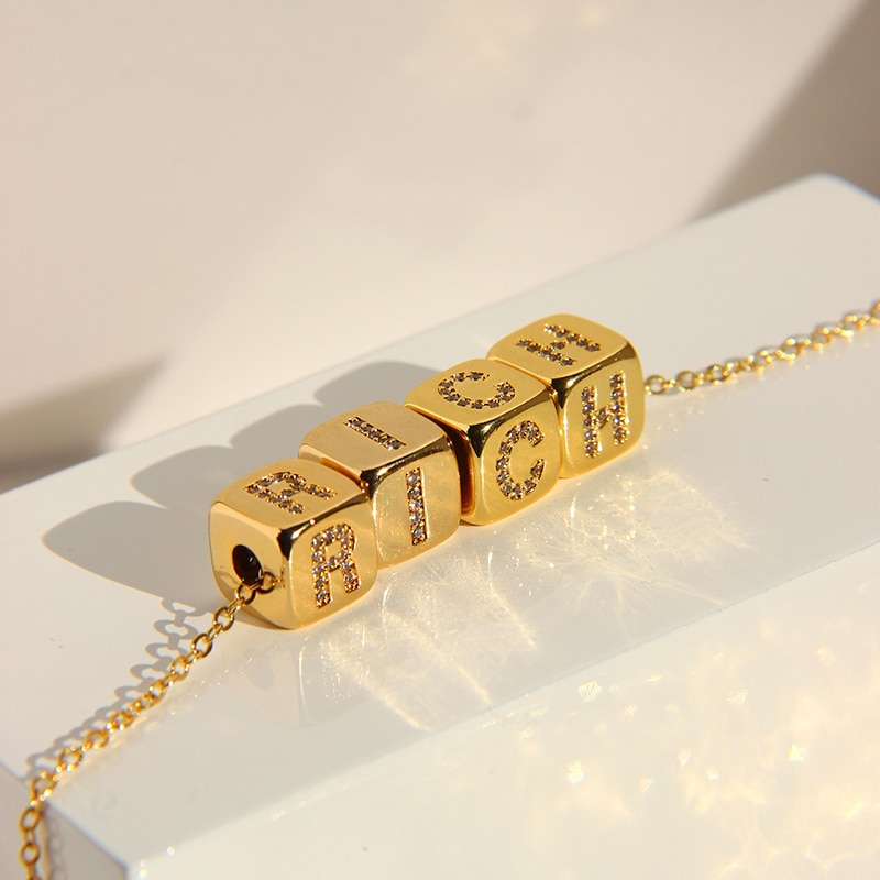 PerisBox Customized A-Z 26 Letters Necklaces Cube Initial Name for Women Cubic Zirconia Personalized Necklace Gifts