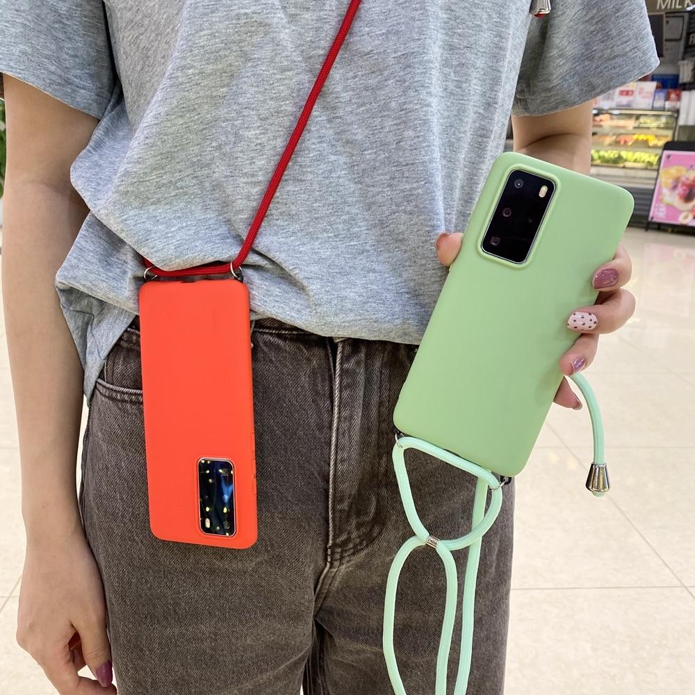 Collier bandoulière étui pour Huawei P30 P20 Pro P40 Lite E P10 housse Silicone liquide étui pour Huawei Mate 20 30 Lite 10 9 Pro
