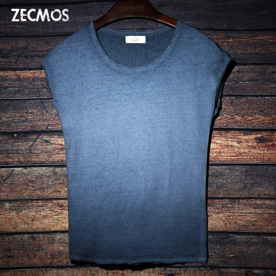 Tie Dye camiseta para hombres cuello redondo sin mangas para hombres Top Tees Hip Hop algodón moda camiseta Negro Azul Rojo