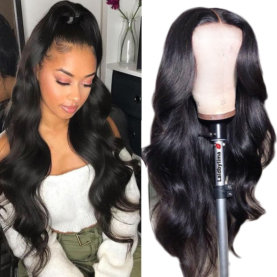 HD Transparent Lace Front Human Hair Wigs 13x6 180% Brazilian Body Wave Lace Frontal Wig With 30inch