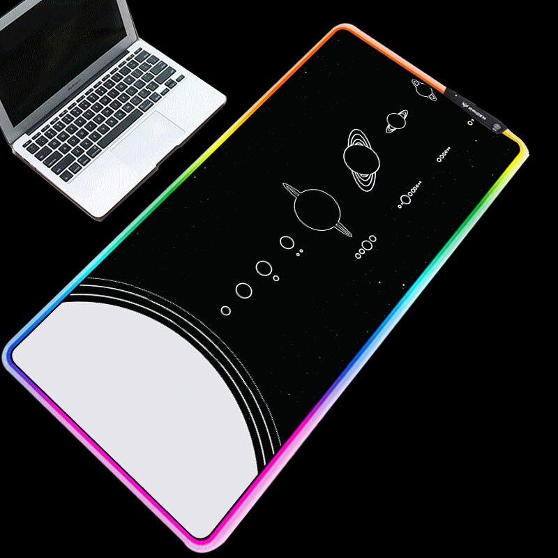 Rvb noir fond blanc lune motif imprimé tapis de souris ordinateur portable PC tapis de souris brillant antidérapant souris tapis pour Gamer L/XL/XXL