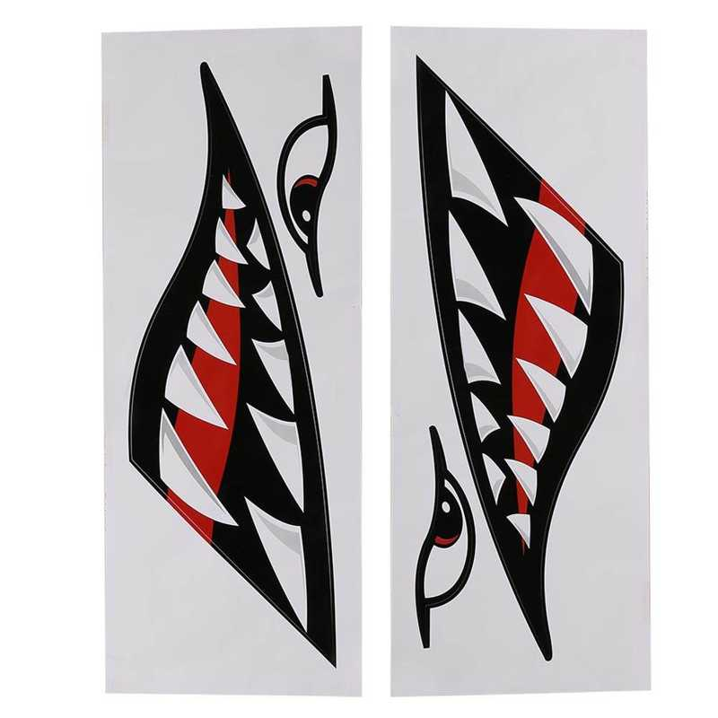 2pcs Waterproof DIY Funny Shark Teeth Mouth Sticker Decal Car Kayak Boat Truck  Sticker Decoration hotmeini 2x long spear totem art of ancient weapons striped car sticker for motorhome suv truck kayak canoe vinyl decal 9 colors