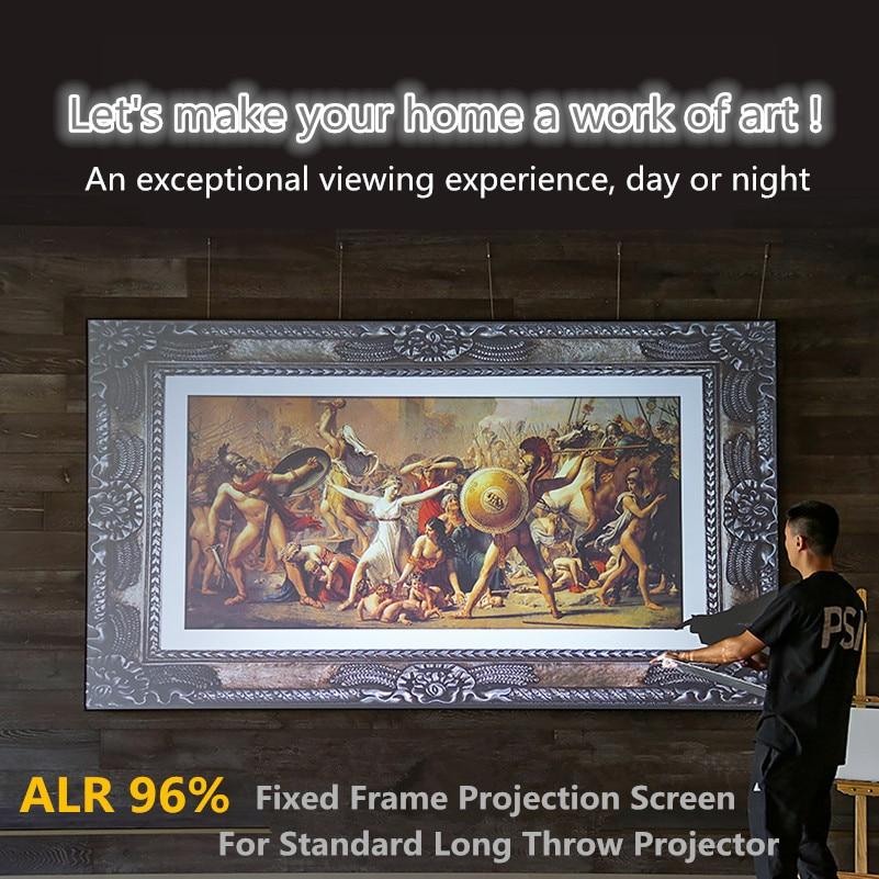 FALR-H إطار رقيقة شاشة سلسلة 80-200 بوصة 3D/4K 16:9 العارض الشاشة مع الأسود كريستال المواد ل طويلة رمي العارض