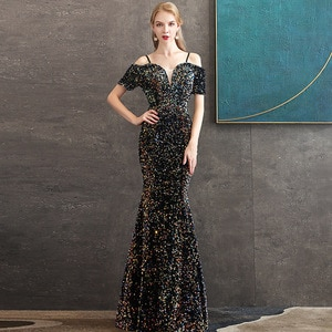 Evening Dress 2021 New The Party Prom Formal Evening Dress Elegant Boat Neck Mermaid Bling Bling Sequin Gown Robe De Soiree